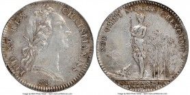 Louis XV silver Franco-American Jeton 1751 XF45 NGC, Br-510 var. (with alligator), Lec-108a. Faintly reeded edge. Coin alignment. Variety with alligat...