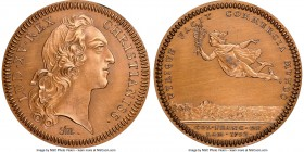 Louis XV bronze Restrike Franco-American Jeton 1751-Dated MS64 Red and Brown NGC, cf. Br-512 (for type), Lec-114 var. (different bust type). Plain edg...
