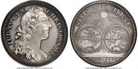 Louis XV silver Restrike Franco-American Jeton 1753-Dated MS63 NGC, cf. Br-513 (for type), Lec-127 var. (plain edge). Plain edge. Medal alignment. Bur...