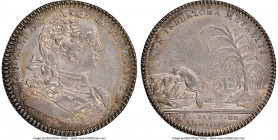 Louis XV silver Franco-American Jeton 1754-Dated AU58 NGC, Br-514, Lec-129. Reeded edge. Coin alignment. Signed JCR below the bust on the obverse. Sup...