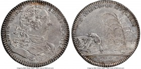 Louis XV silver Franco-American Jeton 1754-Dated AU Details (Mount Removed) NGC, Br-514, Lec-129. Reeded edge. Coin alignment. Signed JCR below the bu...