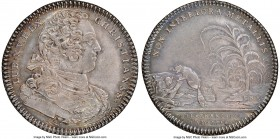 Louis XV silver Franco-American Jeton 1754-Dated XF45 NGC, Br-514, Lec-129. Reeded edge. Coin alignment. Signed JCR below the bust on the obverse. Dee...