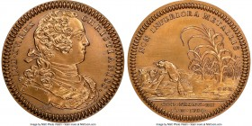 Louis XV bronze Restrike Franco-American Jeton 1754-Dated MS65 Red and Brown NGC, cf. Br-514 (for type), Lec-130. Plain edge stamped BR for BRONZE). M...