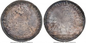 Louis XV silver Franco-American Jeton 1754-Dated MS64 NGC, Br-514, Lec-131. Reeded edge. Coin alignment. There is no JCR below the bust on the obverse...