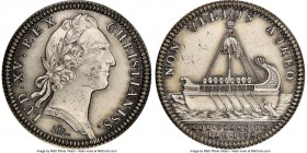 Louis XV silver Restrike Franco-American Jeton 1755-Dated MS62 NGC, cf. Br-515 (for type), Lec-147 var. (plain edge). Plain edge (stamped ARGENT). Med...