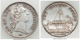Louis XV silver Franco-American Jeton 1755-Dated XF (Cleaned), Br-515, Lec-147. 29mm. 5.82gm. Rare in silver. Sold with old collector envelope detaili...