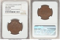 Louis XV copper Franco-American Jeton 1756-Dated MS62 Brown NGC, Br-517, Lec-166. Plain edge. Coin alignment. Brown patina, with evidence of extremely...