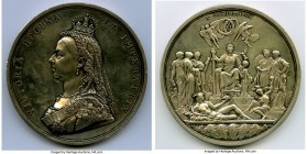 "Victoria silver ""Golden Jubilee"" Medal 1887 AU (Cleaned), BHM-3219, Eimer-1733b. 77mm. By J.E. Boehm & F. Leighton. Obv. Crowned bust of Queen Victori..."