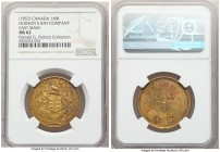 "Hudson's Bay Company ""East Main"" One Made-Beaver Token ND (1857) MS62 NGC, Br-926 (R3), FT-1. Reeded edge. Medal alignment. East Main (unpunched) type..."