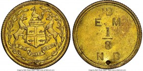"Hudson's Bay Company ""East Main"" 1/8 Made-Beaver Token ND (1857) MS64 NGC, Br-929, FT-8. Reeded edge. Medal alignment. Type with punch on the reverse ..."