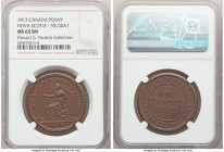 "Nova Scotia ""Trade & Navigation"" Penny Token 1813 MS65 Brown NGC, Br-962, NS-20A1. Engrailed edge. Medal alignment. Bold devices, with traces of brigh..."