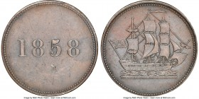 "Newfoundland ""Ship/1858"" 1/2 Penny Token 1858 AU58 Brown NGC, Br-954 (R4), NF-3A1. Closed-5. Plain edge. Medal alignment. Light contact marks, with vi..."