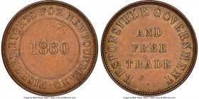 "Newfoundland ""Responsible Government and Free Trade/Fishery Rights"" 1/2 Penny Token 1860 AU58 Brown NGC, Br-955, NF-4. Plain edge. Medal alignment. Ve..."