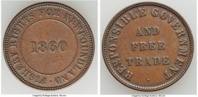 "Newfoundland ""Responsible Government and Free Trade - Fishery Rights"" 1/2 Penny Token 1860 VF, Br-955, NF-4. 26mm. 4.90gm. ""Fishery Rights for Newfoun..."
