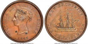 "New Brunswick. Victoria copper ""Bust / Ship"" 1/2 Penny Token 1843 AU55 Brown NGC, Br-909, NB-2A. Well struck, with glossy surfaces, and two spots of d..."