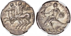 CALABRIA. Tarentum. Ca. 281-240 BC. AR stater or didrachm (21mm, 6.44 gm, 9h). NGC Choice AU 5/5 - 4/5. Ca. 280-272 BC, Sedamos, Fy- and Gy, magistrat...