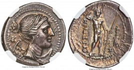 BRUTTIUM. The Brettii. Ca. 216-214 BC. AR drachm (20mm, 5.01 gm, 3h). NGC Choice AU 4/5 - 5/5. Second Punic War issue. Draped bust of Nike right, seen...