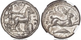 SICILY. Messana. Ca. 425-413 BC. AR tetradrachm (25mm, 17.21 gm, 6h) NGC Choice AU 5/5 - 4/5, Fine Style. MEΣΣ-ANA (retrograde and inverted), Nymph Me...