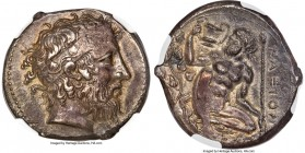 SICILY. Naxos. Ca. 430-415 BC. AR tetradrachm (26mm, 16.80 gm, 4h). NGC Choice XF 3/5 - 3/5, Fine Style. Head of Dionysus right, wearing taenia decora...