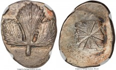 SICILY. Selinus. Ca. 540-480 BC. AR didrachm (27mm, 8.66 gm). NGC MS 5/5 - 2/5, brushed. Ca. 540-515 BC. Wild parsley (selinon) leaf / Incuse square c...