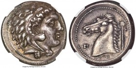 SICILY. Siculo-Punic. Ca. 300-289 BC. AR tetradrachm (26mm, 16.94 gm, 6h). NGC AU S 5/5 - 5/5, Fine Style. Quaestors issue. Head of young Heracles rig...