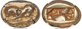 THRACO-MACEDONIAN. Uncertain city. Ca. 525-475 BC. EL stater (23mm, 13.97 gm). NGC Choice XF 3/5 - 4/5, flan flaw. Lydo-Milesian standard. Lactating l...