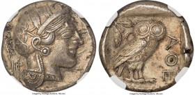 ATTICA. Athens. Ca. 440-404 BC. AR tetradrachm (24mm, 16.97 gm, 12h). NGC AU 5/5 - 2/5, graffiti. Mid-mass coinage issue. Head of Athena right, wearin...