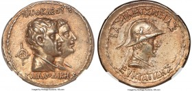 BACTRIAN KINGDOM. Eucratides I the Great (ca. 170-145 BC). AR tetradrachm (32mm, 16.99 gm, 12h). NGC AU S 5/5 - 4/5, Fine Style. Dynastic pedigree iss...