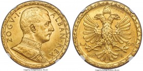 Zog I gold Prova 100 Franga Ari 1928-R MS64 NGC, Rome mint, KM-Pr38, Fr-8, Pag-791. By G. Romagnoli. From a reported mintage of 50 pieces, this extrem...