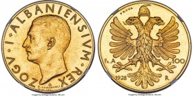 Zog I gold Prova 100 Franga Ari 1928-R MS62 NGC, Rome mint, KM-Pr36, Fr-7, Pag-790. Mintage: 50. By G. Romagnoli. Bare Head, Without Wreath variety. D...