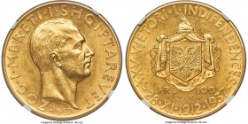 "Zog I gold ""Independence Anniversary"" 100 Franga Ari 1937-R MS62 NGC, Rome mint, KM21, Fr-11. Mintage: 500. Struck for the 25th anniversary of Albania..."