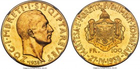 "Zog I gold ""Royal Wedding"" 100 Franga Ari 1938-R MS62 NGC, Rome mint, KM23, Fr-13. Struck for the marriage of King Zog to Countess Geraldine Apponyi o..."