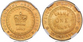"South Australia. British Colony - Victoria gold ""Adelaide"" Pound 1852 MS61 NGC, KM2, Fr-3, Rennik-pg. 21, McDonald-pg. 41. Type II reverse with dentil..."