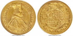 Ortenburg. Christopher Widmann gold 10 Ducat 1656 MS63 NGC, St. Veit mint, KM5 (Rare; this coin), Fr-563 (Rare; this coin plated in the 8th ed.), cf. ...