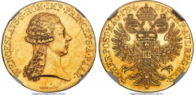 Paar. Prince Wenzel gold 5 Ducat 1794 MS60 NGC, Vienna mint, KM8 (Rare), Fr-569 (Rare), Horsky-Unl. 13.97gm. By Johan Nepomuk Würth. Struck from 1/2 T...