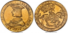 Ferdinand I (1522-1564) gold 10 Ducat 1522 AU Details (Mount Removed) NGC, St. Veit (Klagenfurt) mint, Fr-24 (Very Rare; this coin), cf. Schulten-4009...
