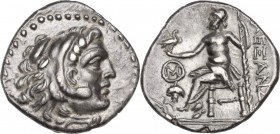 Celtic World. Eastern Europe, Uncertain Tribe. AR Drachm, imitating Alexander III of Macedon, Chios mint. Obv. Head of Herakles right, wearing lion's ...
