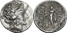 Celtic World. Eastern Europe. AR Tetradrachm, imitation of Thasos, after 148 BC. Obv. Wreathed head of young Dionysos right. Rev. Herakles standing fa...