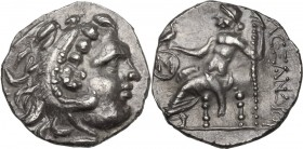 Celtic World. AR Drachm, Celtic imitation of the type of Alexander III the Great. c. 300 BC. Obv. Head of Herakles right, wearing lion's skin. Rev. Ze...