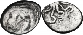 Greek Italy. Etruria, Populonia. AR 20-Asses, 3rd century BC. Obv. Facing head of Metus, tongue protruding, hair bound with diadem; [below, X X]. Rev....