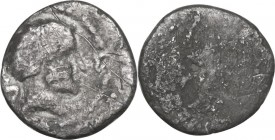 Greek Italy. Etruria, Populonia. AR 2.5-Asses, 3rd century BC. Obv. Male head right; behind, UII. Linear border. Rev. Blank. Vecchi EC ; HN Italy 175;...