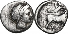 Greek Italy. Central and Southern Campania, Neapolis. AR Didrachm. Circa 320-300 BC. Obv. Diademed head of nymph right. Rev. Man-headed bull walking r...