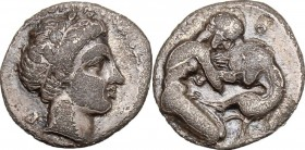 Greek Italy. Central and Southern Campania, Neapolis. AR Obol, 320-300 BC. Obv. Male head right, laureate. Rev. Herakles strangling Nemean lion right....