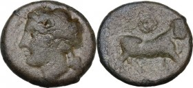 Greek Italy. Central and Southern Campania, Neapolis. AE 16.5 mm, 300-275 BC. Obv. Laureate head of Apllo left; behind, symbol. Rev. Man-headed bull r...