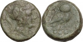 Greek Italy. Northern Apulia, Teate. AE Teruncius, 225-220 BC. Obv. Helmeted head of Athena right. Rev. Owl standing right, head facing; to left, TIAT...