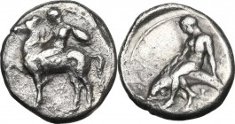 Greek Italy. Southern Apulia, Tarentum. AR Nomos, circa 380-340 BC. Obv. Nude youth, shield on arm, on horse standing left; tiny Λ below. Rev. Phalant...