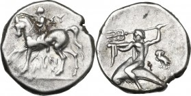 Greek Italy. Southern Apulia, Tarentum. AR Nomos, reduced standard, circa 272-240 BC. Obv. Nude youth crowning horse he rides left; ΣY to right, ΛYKI/...