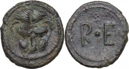 Greek Italy. Bruttium, Rhegion. AE Onkia, 450-425 BC. Obv. Mask of lion facing. Rev. RE. HN Italy 2517. AE. 1.27 g. 13.00 mm. Green patina. Good VF.