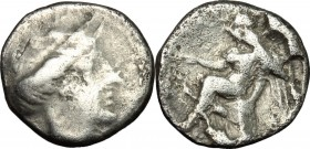 Greek Italy. Bruttium, Terina. AR Triobol, c. 400-356 BC. Obv. Head of nymph right. Rev. Nike seated left on cippus, holding uncertain object. HN Ital...
