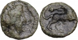 Greek Italy. Greek Italy, uncertain mint. Capua or Minturnae(?). AE 16 mm. Late 90s-early 80s BC. Obv. Head of Dionysos right, wearing ivy wreath. Rev...